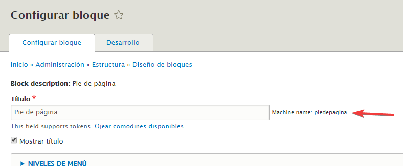 El machine name de un bloque en Drupal 8