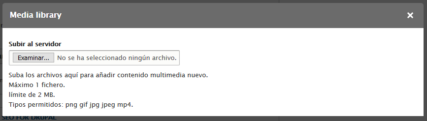 Interfaz antigua de creacion para Media Library en Drupal 8.6